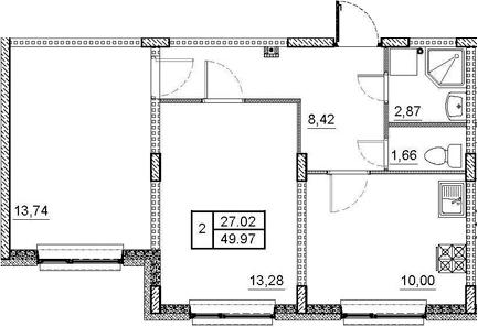2-к.кв, 49.97 м²