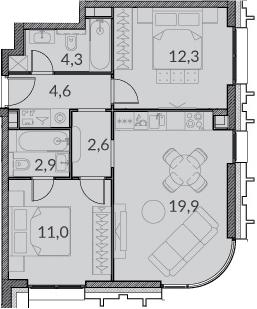 3Е-комнатная, 57.6 м²– 2
