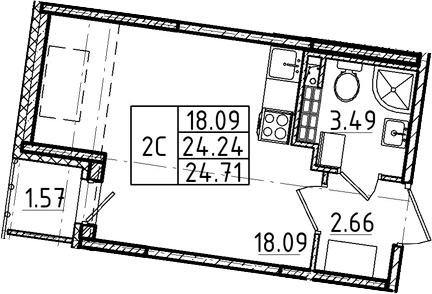 Студия, 24.24 м², 5 этаж