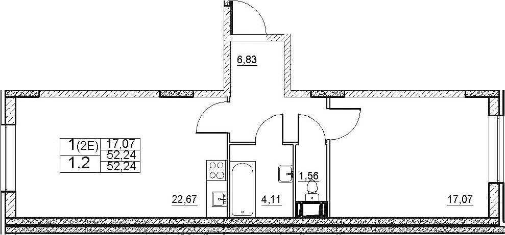 2-к.кв (евро), 52.24 м²