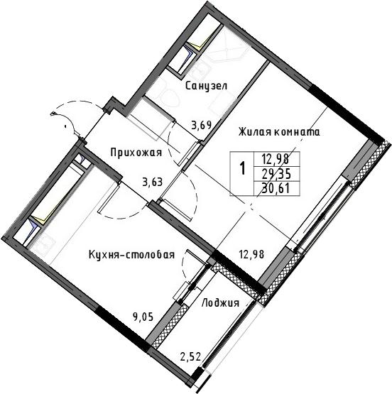 1-к.кв, 30.61 м²