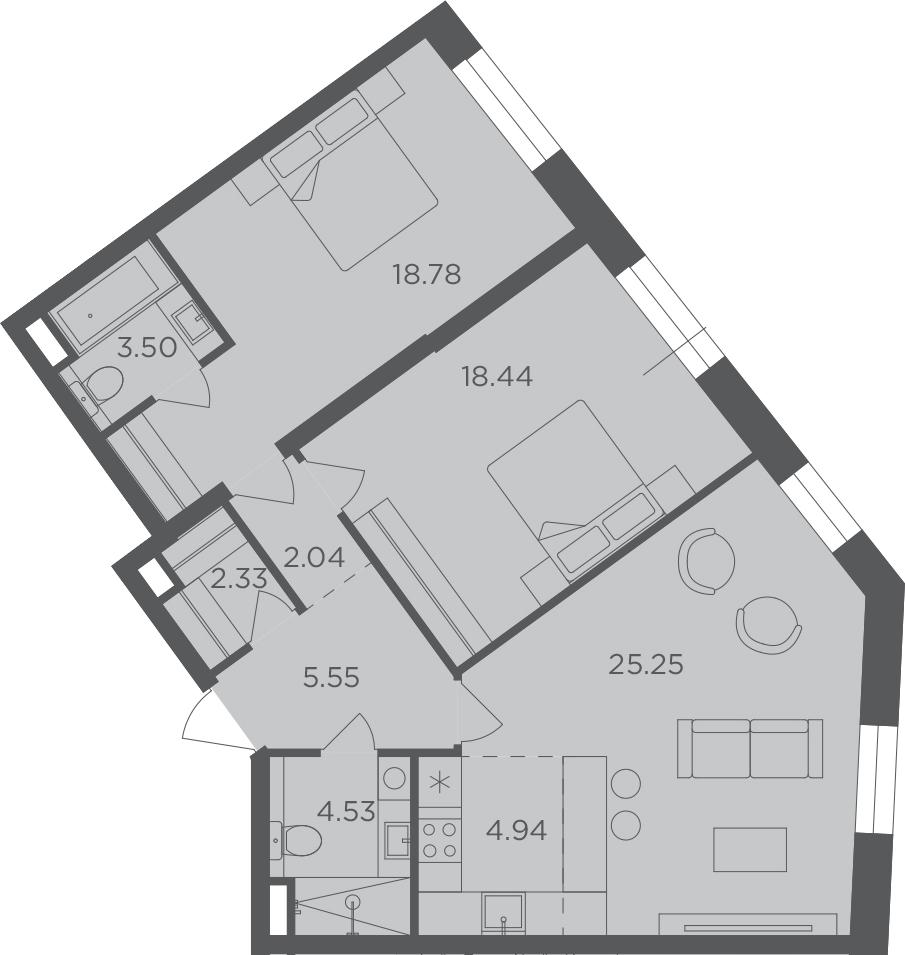 3Е-комнатная, 85.37 м²– 2
