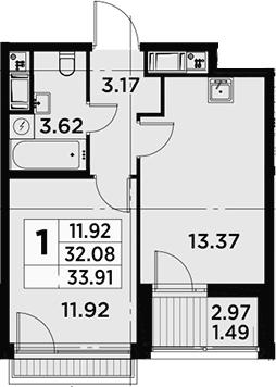 1-к.кв, 33.91 м²