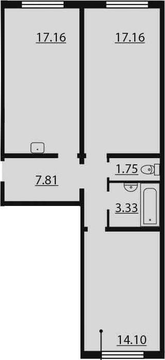3-к.кв (евро), 61.31 м²