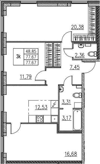 3-комнатная, 77.67 м²– 2
