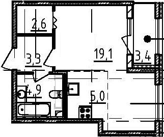Студия, 36.6 м², 2 этаж