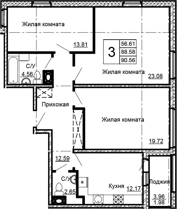 3-к.кв, 92.54 м²