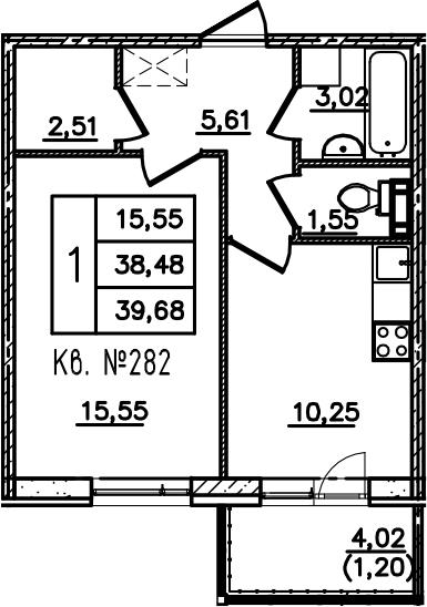 1-комнатная, 39.7 м²– 2