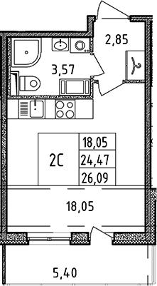 Студия, 24.47 м², от 11 этажа