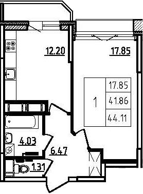 1-к.кв, 46.36 м²