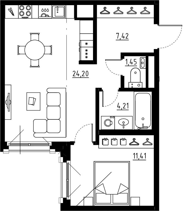 2Е-комнатная, 48.69 м²– 2