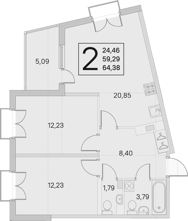 3Е-комнатная, 59.29 м²– 2