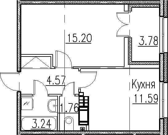 1-к.кв, 40.14 м²