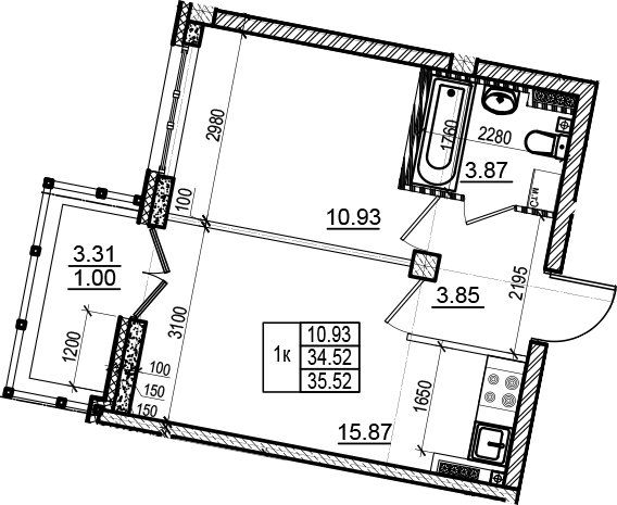 2Е-к.кв, 35.52 м²