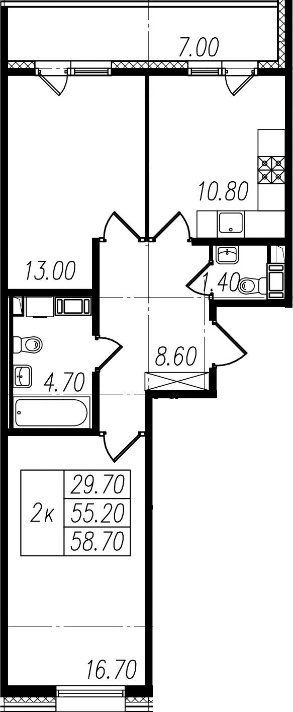 2-к.кв, 55.2 м², 8 этаж