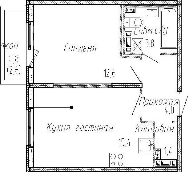 2Е-к.кв, 37.2 м², 4 этаж