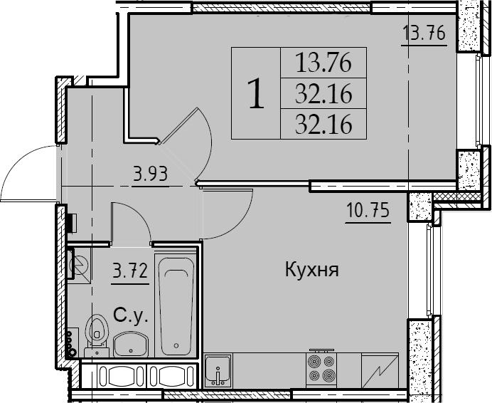 1-к.кв, 32.16 м²
