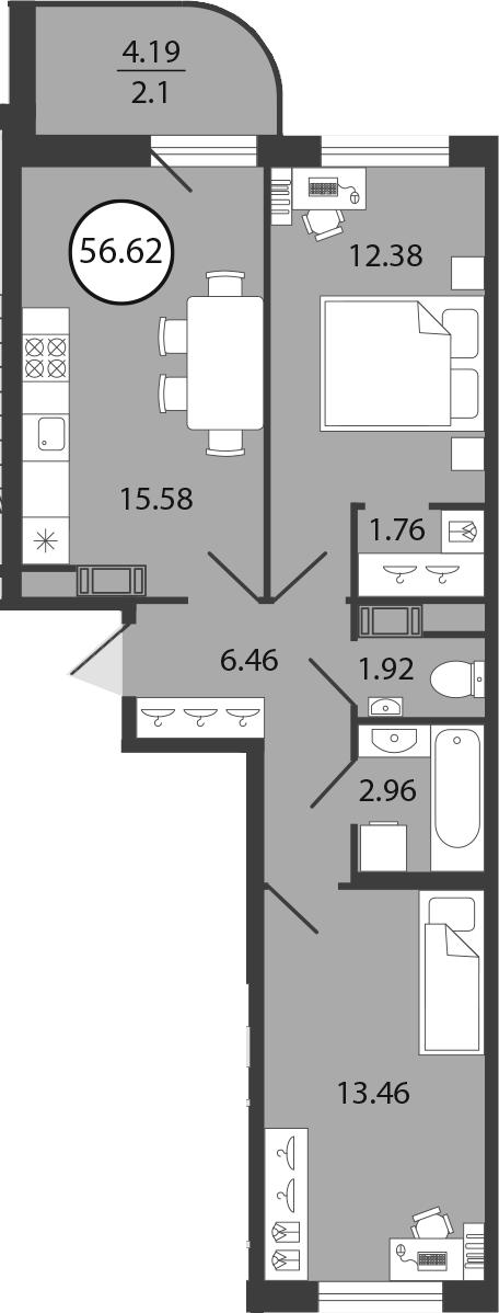 3Е-к.кв, 56.62 м²