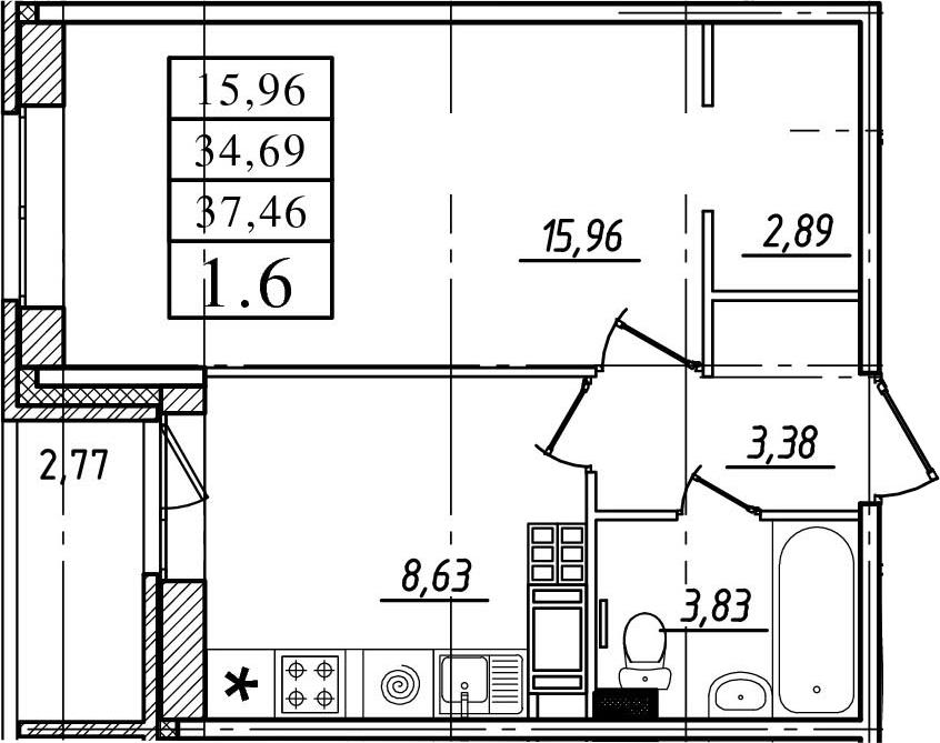 1-к.кв, 34.69 м², 17 этаж