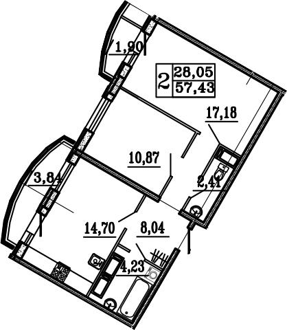 2-к.кв, 63.17 м²