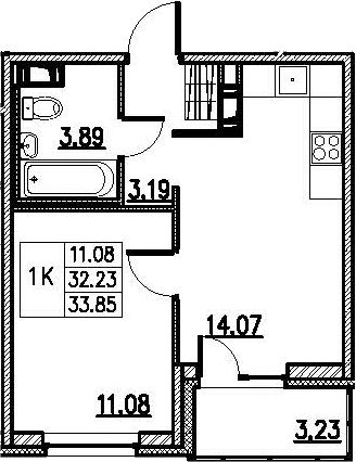 2-к.кв (евро), 35.47 м²
