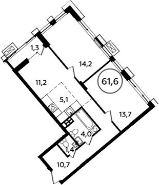 3-к.кв (евро), 62.9 м²