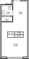 Студия, 27.14 м²– 2