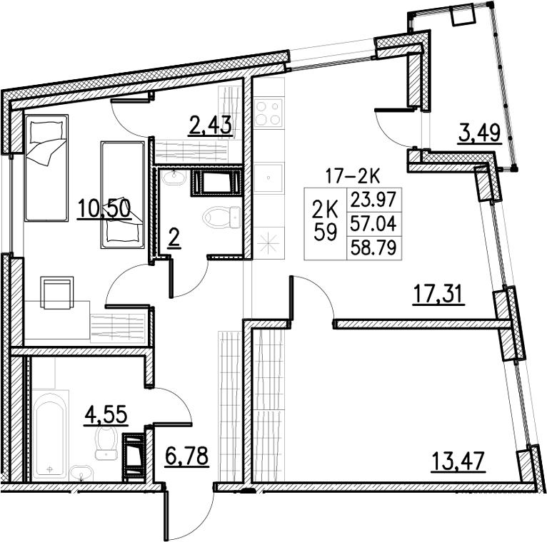 3Е-к.кв, 58.79 м²