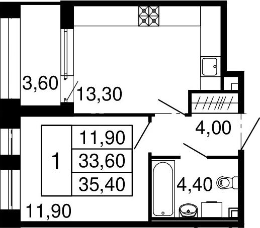 2Е-к.кв, 33.6 м²