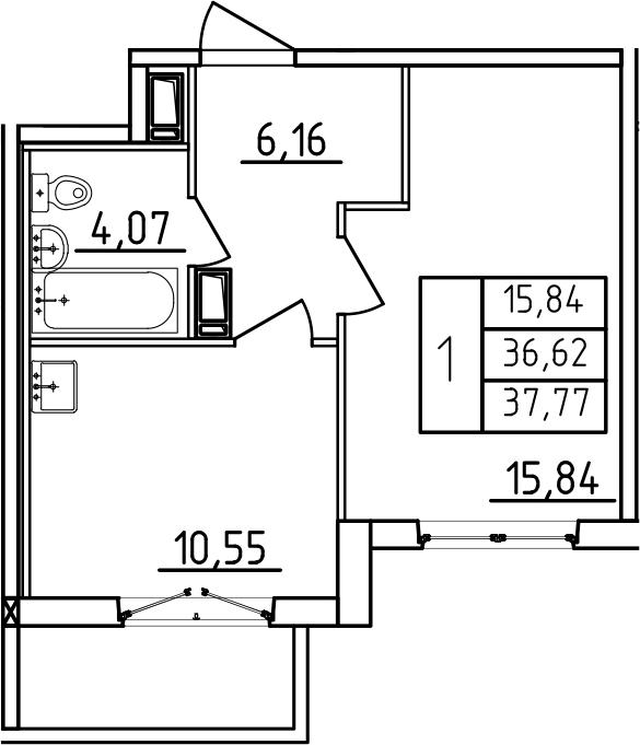 1-к.кв, 37.77 м², от 3 этажа