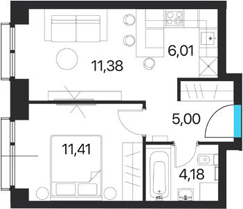 2Е-комнатная квартира, 37.98 м², 11 этаж – Планировка
