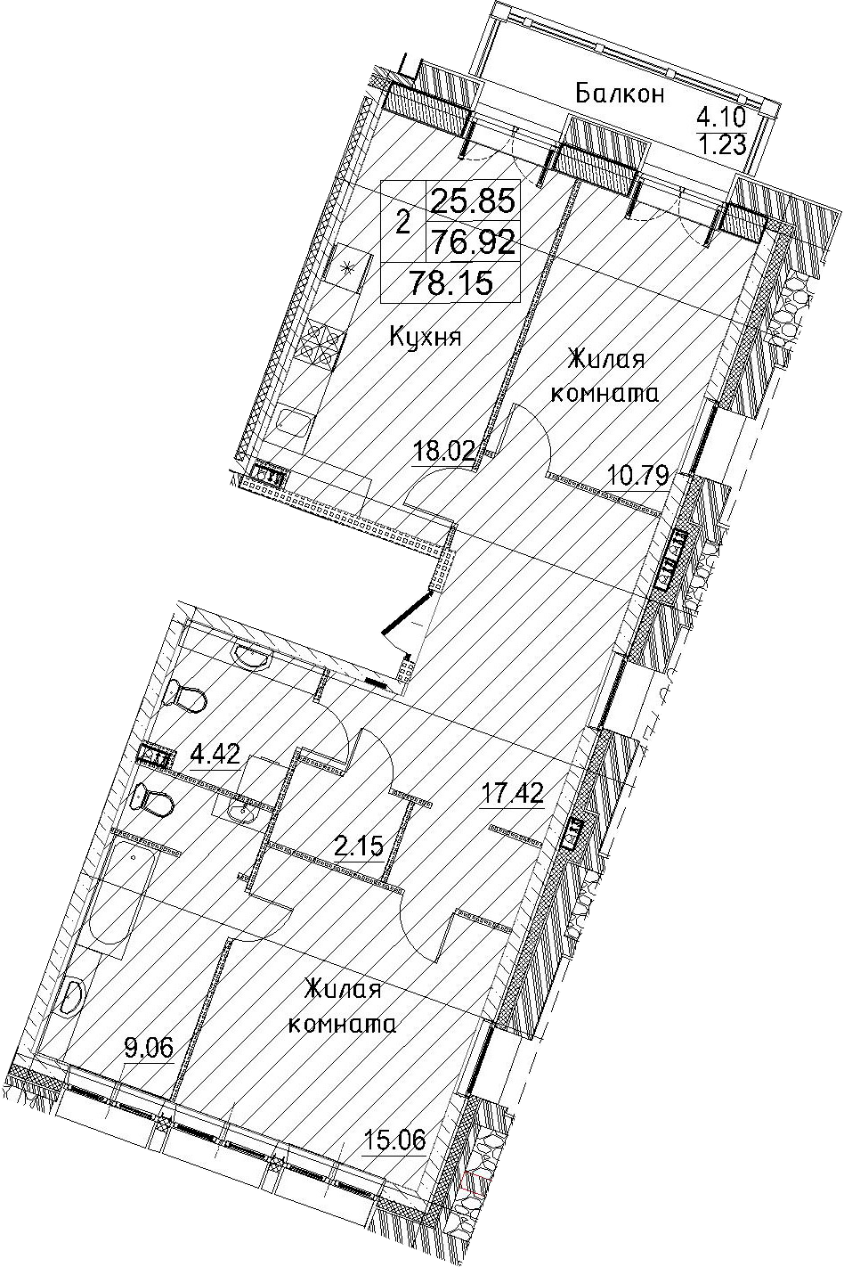 2-к.кв, 78.15 м²