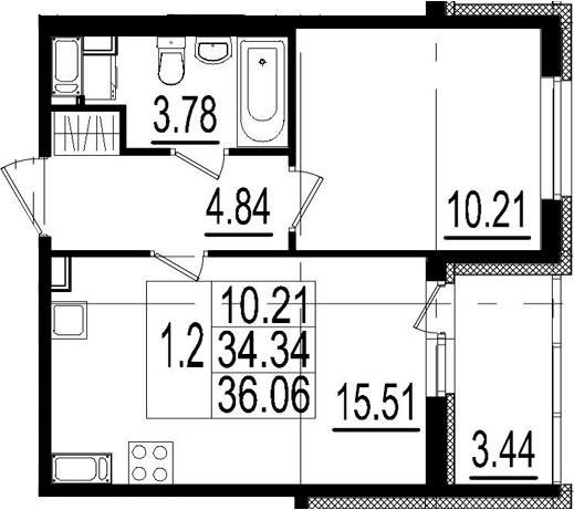 2Е-к.кв, 34.34 м², 2 этаж