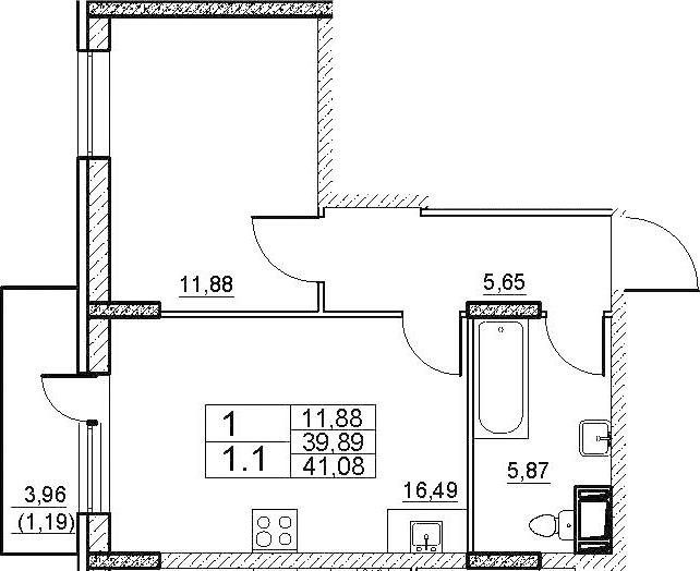 2-к.кв (евро), 43.86 м²
