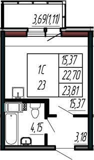 Студия, 22.7 м², 9 этаж