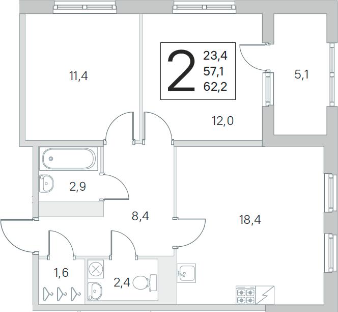 3Е-комнатная, 57.1 м²– 2