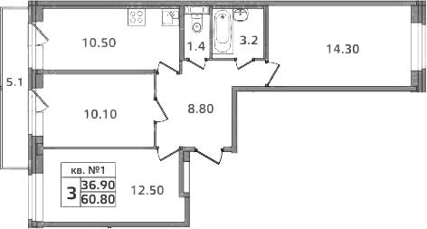 3-к.кв, 65.9 м²
