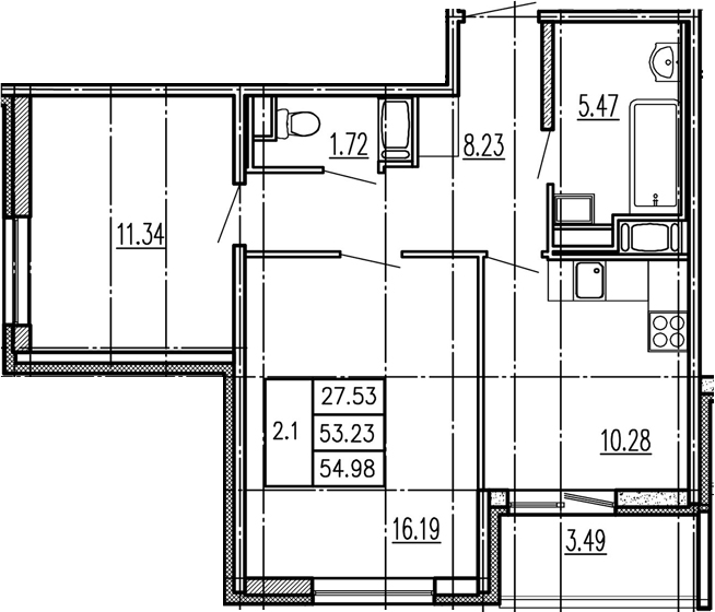 2-к.кв, 53.23 м²