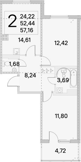 2-комнатная, 57.16 м²– 2