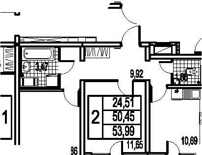2-к.кв, 57.53 м²