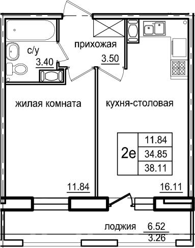 2Е-к.кв, 38.11 м², от 5 этажа