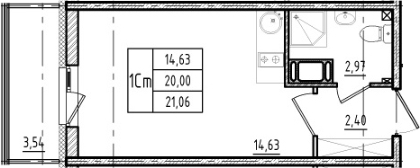Студия, 23.54 м²