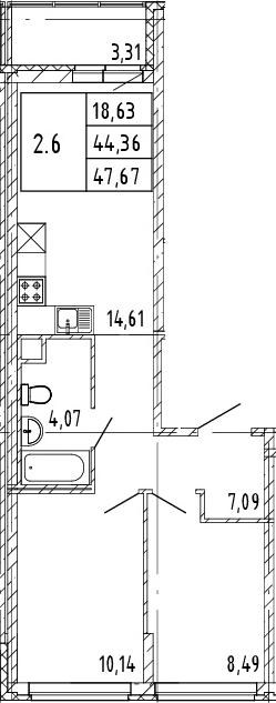 3Е-к.кв, 44.36 м², 2 этаж