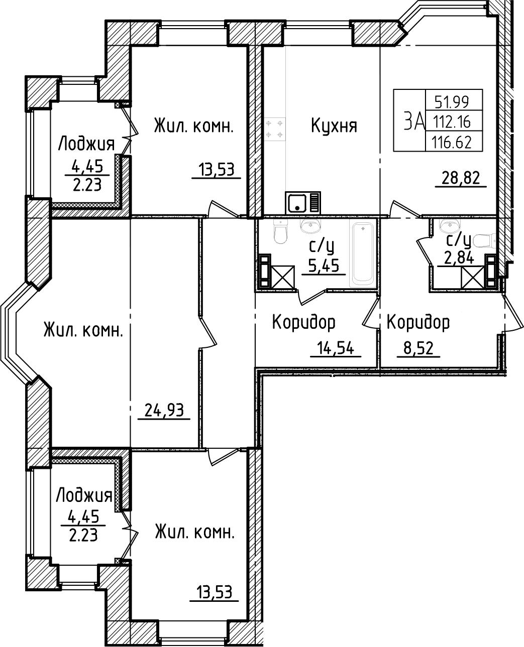 3-к.кв, 121.08 м²