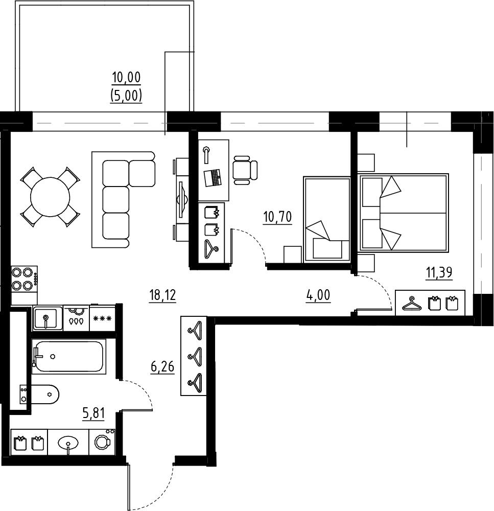 3Е-комнатная, 56.28 м²– 2
