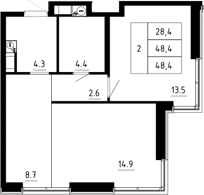 2Е-к.кв, 48.4 м², 5 этаж