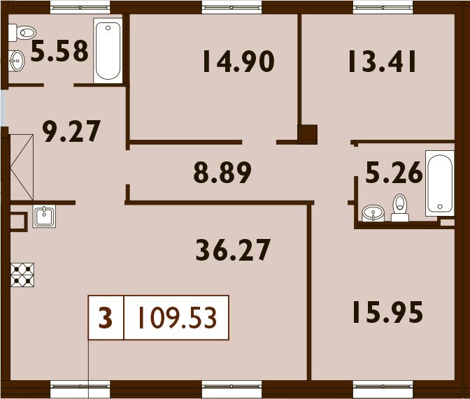 4Е-комнатная, 109.53 м²– 2