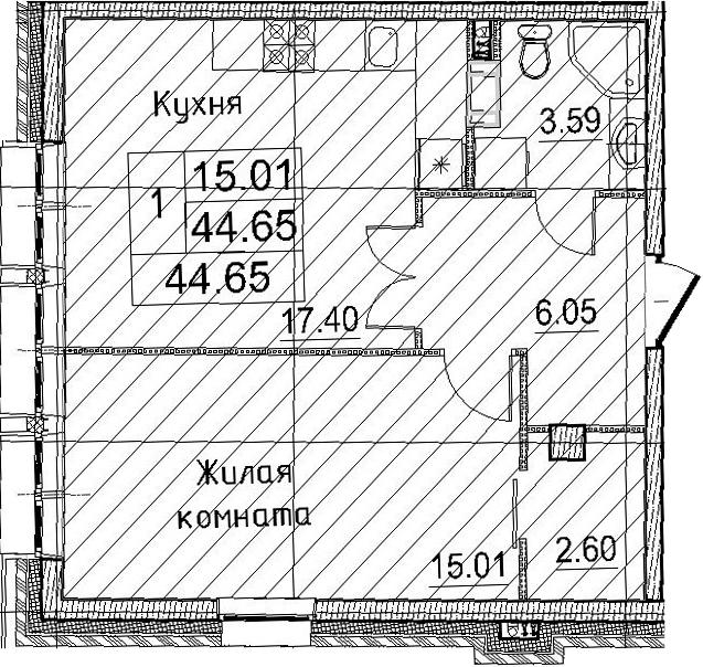 2Е-к.кв, 44.65 м²