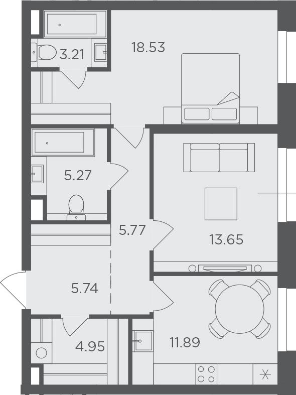 2-к.кв, 69.01 м²