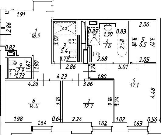 4Е-к.кв, 142.1 м², 2 этаж